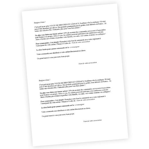 Lettre d'information pour les familles