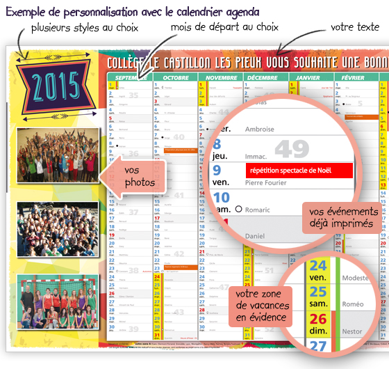 exemple personalisation calendrier