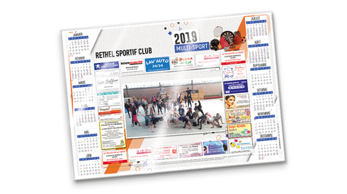 Calendrier mono-photo sous-main avec Sponsors 2019