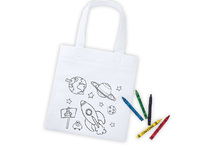 Lot de 10 sacs à colorier  + 5 crayons
