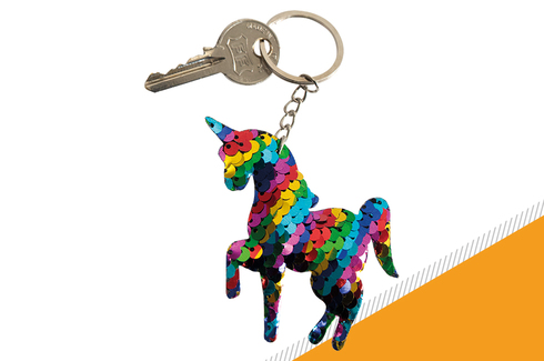 Lot de 12 porte-clés licorne sequin 2
