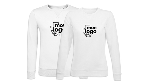 Sweat col rond BLANC impression 1 couleur