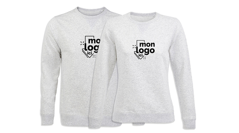 Sweat col rond BLANC CHINÉ