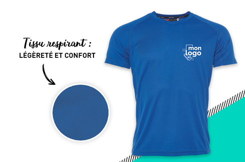 Tee shirt respirant Bleu royal 3