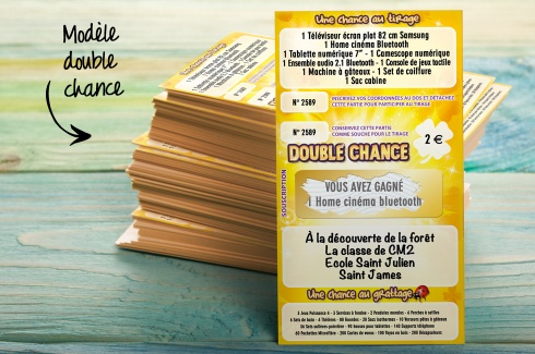 "Préférence Tickets de tombola à gratter ""Double chance"" - Initiatives Tombolas IK04"
