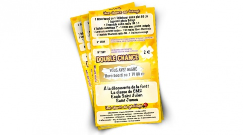 Tickets de tombola à gratter Double chance